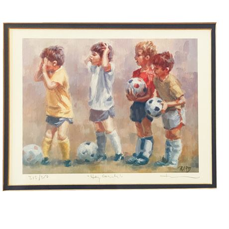 """""""Hey Coach"""" By Lucelle Raad Offset Lithograph"""