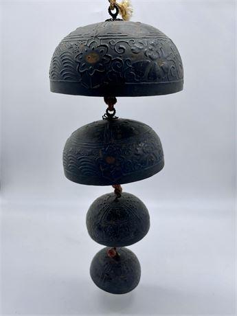 Set of 4 Japanese Temple Bronze Bells