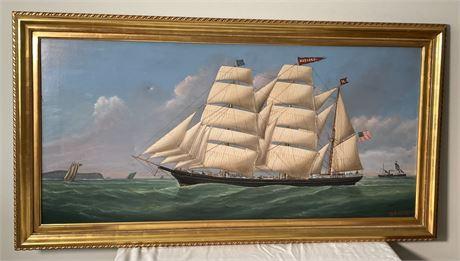 "20th C. Maritime Painting ""Harvard at Sea"""