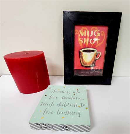 Decor lot - candle, Mug Shot coffee picture and Teacher sign