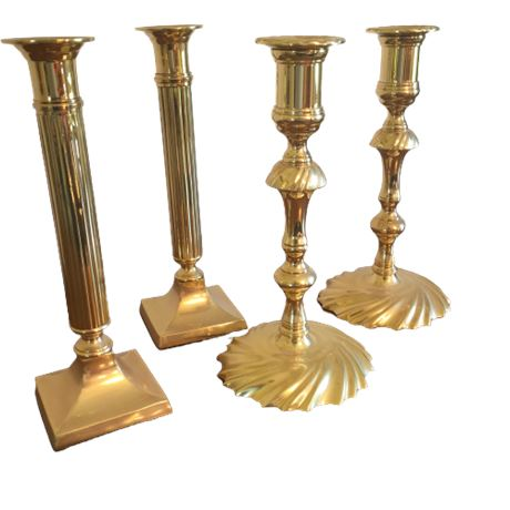 2 Sets of Brass Candlesticks