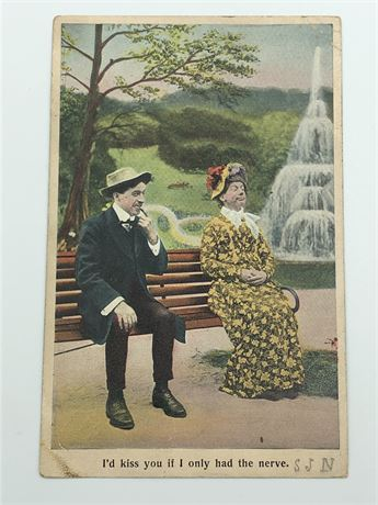 Antique Postcard and Stamp Illustrated Man and Woman Postcard