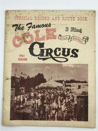 1961 Cole Circus 3 Ring Circus Official Record and Route Book