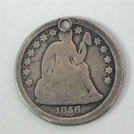 1856 US Dime Pendant Altered Reverse Coin Charm