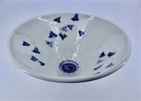 Artisan Crafted Pottery - Handpainted - Artist Signed white glaze with Flowers