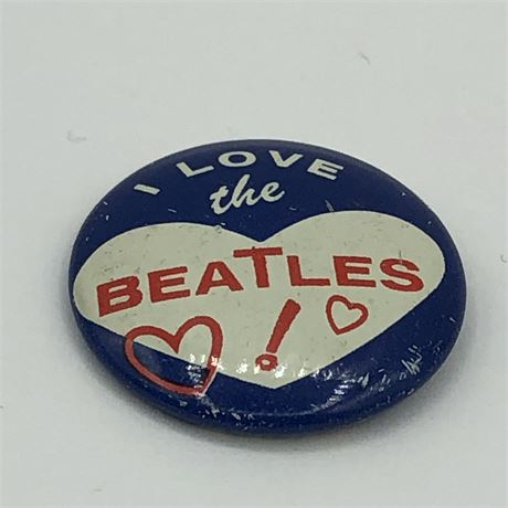 Vintage 1964 I Love the Beatles Heart Pinback Button Pin Green Duck
