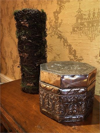 Silvered Trinket Box and Vase
