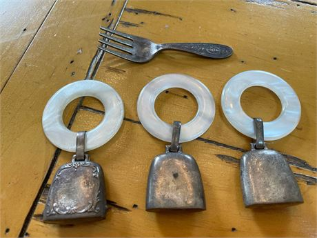 Victorian Sterling Silver Baby Rattles and Baby Fork