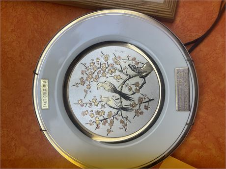 Cherry Blossoms in Chokin Style (14kt and Silver to copper Engraving