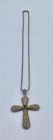 14K White and Yellow Gold Filigree Cross Pendant on Chain