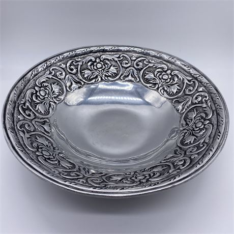 Wilton Armetale Pewter William Mary Large Round Serving Bowl Floral