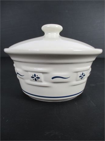 Longaberger Pottery Covered Candy Dish
