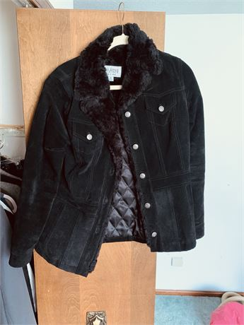 Wilsons leather black suede coat size small
