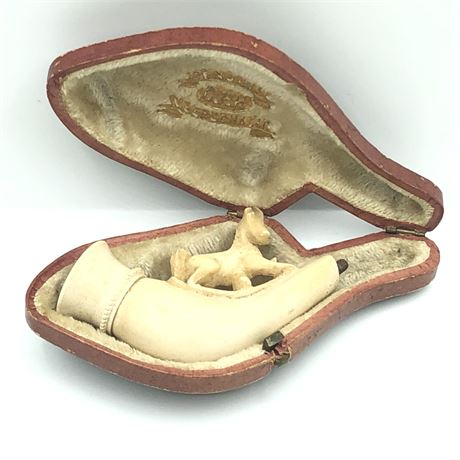 Antique Carved Meerschaum Stallion Horse Pipe with original Leather Case