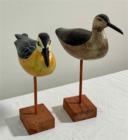 Pair of Painted Wood Shore Birds