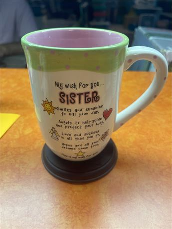 Sister coffee mug with stand by Ganz