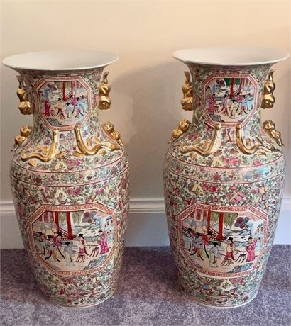 Pair of Palace Size Chinese Floor Vases