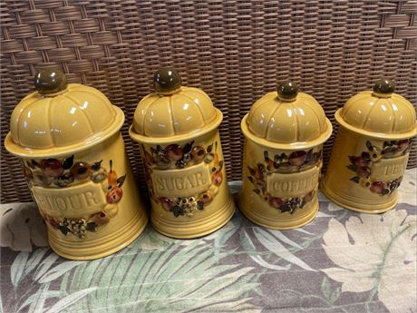 Vintage Set of 4 Los Angeles Pottery 1967 Yellow Ceramic Canisters Fruit