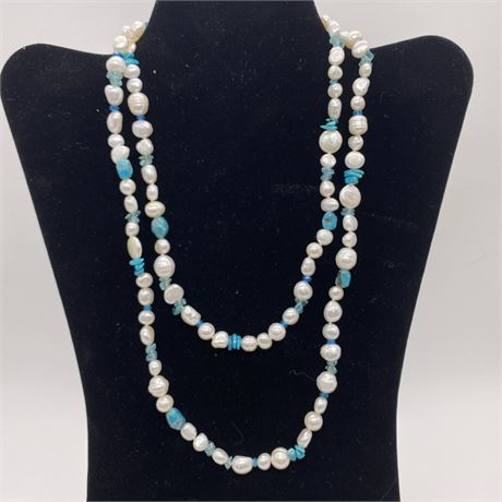 Vintage Honora Baroque Cultured Pearl and Turquoise necklace w sterling silver
