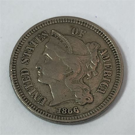 3C 1866 Three Cent Nickel Coin