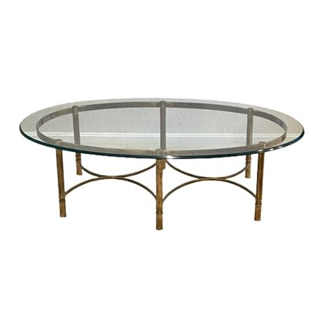 Hollywood Regency Style Oval Cocktail Table