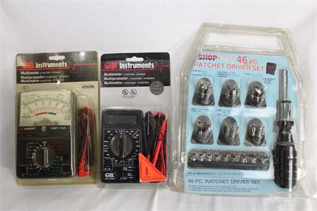 Multimeters and 46 Pc Ratchet Driver Set