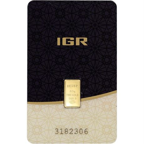 0.5 gram IGR Gold Bar - Istanbul Gold Refinery - 999.9 Fine in Sealed Assay