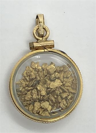19th Century Raw Gold Flakes from California Gold Rush Pendant