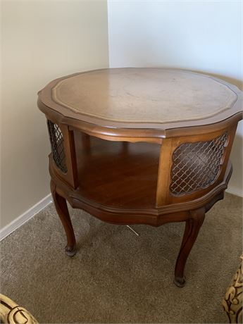 Wooden End Table with Leather top