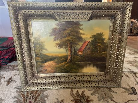 Roger Brown Cottage print with metal ornate frame