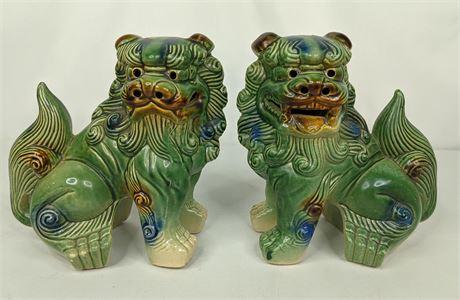 Majolica Ceramic Foo Dogs