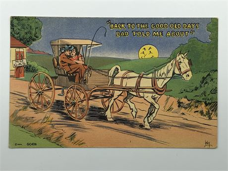 Antique Postcard Illustrated Stagecoach Postcard