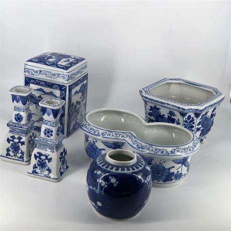 Decorative Ceramic Blue & White Grouping