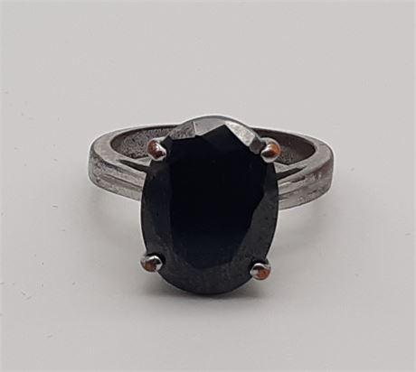 Designer Black Gemstone Ring Size 9