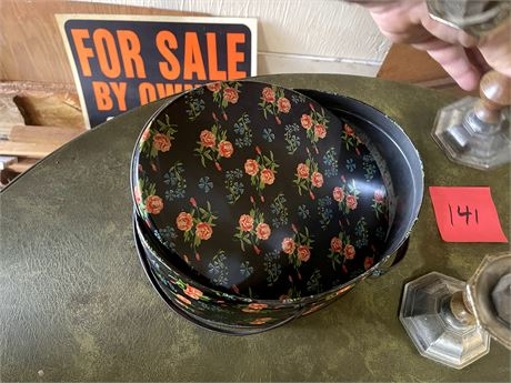 Floral Decoration Tin Container
