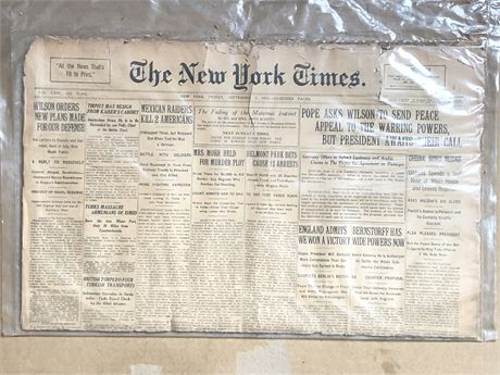 WW1 New York Times Newspaper Issue NYT Pope tells President Wilson to seek Peace