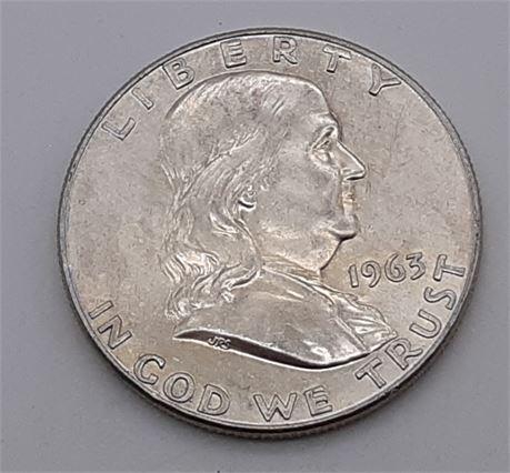1963 Silver Franklin Liberty Half Dollar