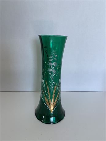 Green glass hand-painted vase