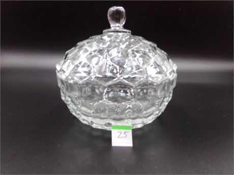 Vintage Cube Pattern Glass Candy Dish