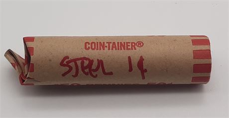 Shotgun Roll of Wheat Pennies with Steel Penny on End