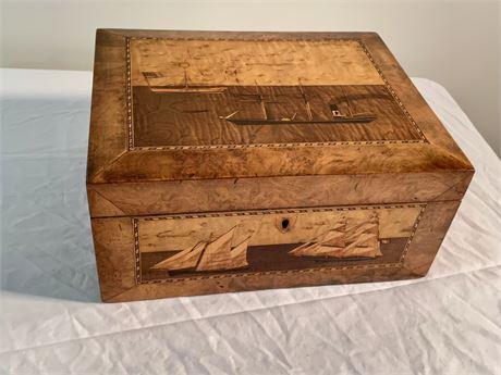 19th C. English Burlwood Sewing Box