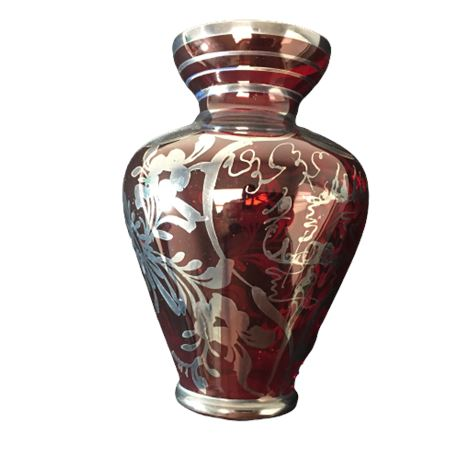 E B Argento Cranberry Glass Vase with Sterling Overlay