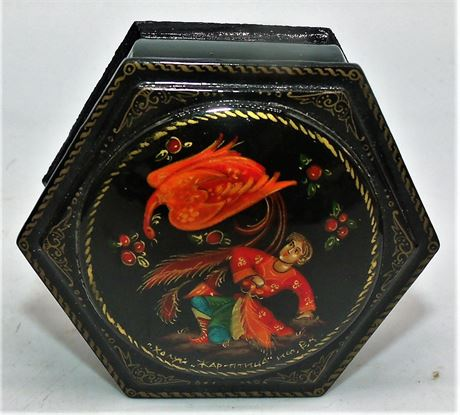 Russian lacquer box Signed