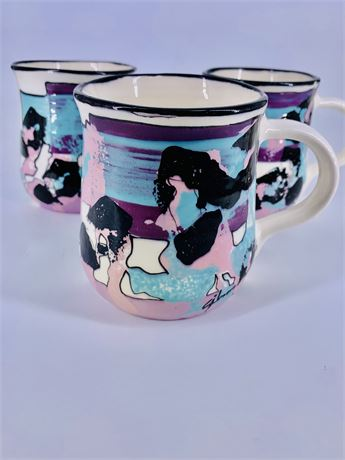 Vintage Gibson 80's Abstract Ceramic Mugs - 3