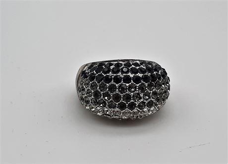 Designer Black/Diamond Gemstone Ring Size 9