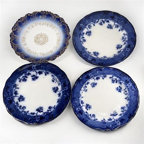 Antique Porcelain German Flow Blue Cabinet Plates