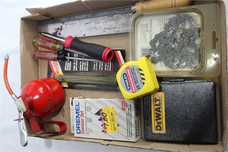 DeWalt Drill and Drive Set, Saw Chain, Oil Can, Dremel Contour Set and More