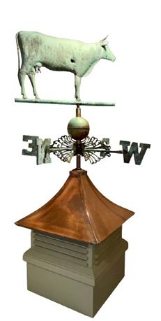 Vintage Cow Weathervane with Cupola