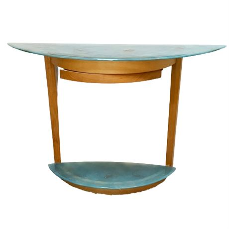 Art Glass and Maple Demi Lune Console Table