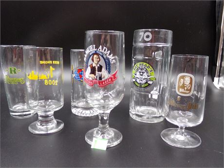 Lot of 6 Beer Glasses
